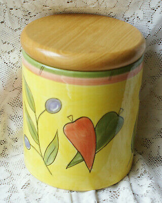 Rayware Olivio Storage Jar / Canister With Wood Lid 15cm Tall 11cm Diameter • 12£
