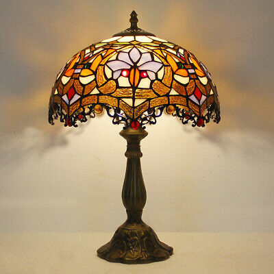 Tiffany Style Dragon Tail Red Table Lamp Baroque 12  Stained Glass Reading Lamp • 75.99£