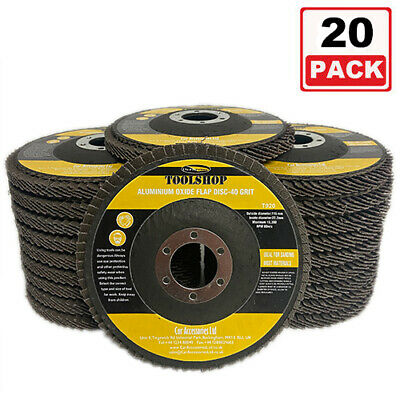 20 PCS FLAP DISCS 115mm 4.5  SANDING GRIT GRINDING WHEELS 40 GRIT 20 PC • 13.50£