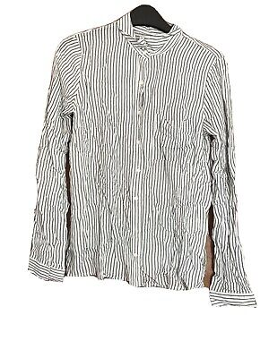 AU25.74 • Buy Pull And Bear White And Black Stripe Shirt Small