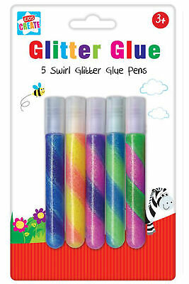 5 Swirl Glitter Glue Pens Sparkly Shiny Kids Arts Crafts Cards Paper Scrapbook • 1.91£