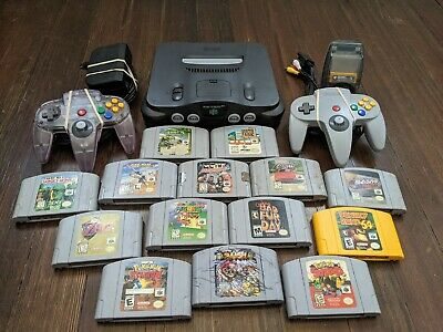 $ CDN1208.25 • Buy N64 Game Lot (Conker's, Mario, Zelda) With Nintendo 64 System And Controllers ++