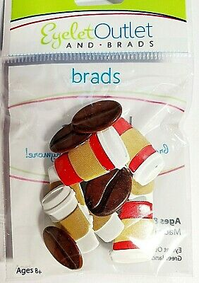 $2.99 • Buy Coffee Cups & Coffee Beans Brads Eyelet Outlet 12 Pieces