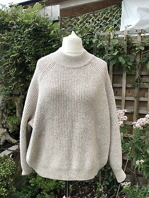 H&M  UK L ( 16-18) Beige High Neck Chunky Knit Slouchy Over Size Jumper WOMEN's • 28£