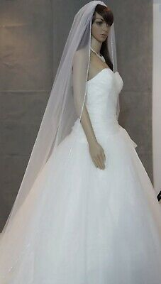 Bridal Ivory Cathedral Veil 1 Tier Soft Tulle Rhinestone Edge Crystal Bead Bling • 40£