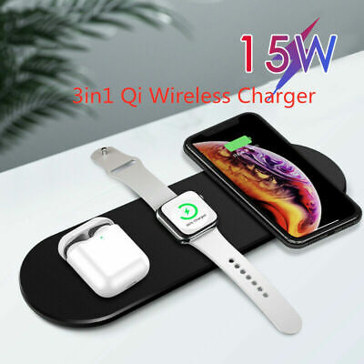 $ CDN18.79 • Buy 3in1 QI Wireless Charger Charging Dock Station For Apple AirPods / IPhone/ Watch