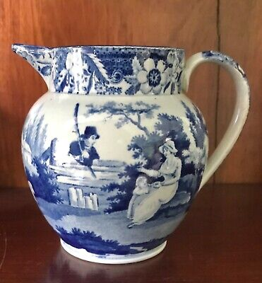Antique Pearlware Blue Transfer Printed Transferware Jug C1820 • 55£