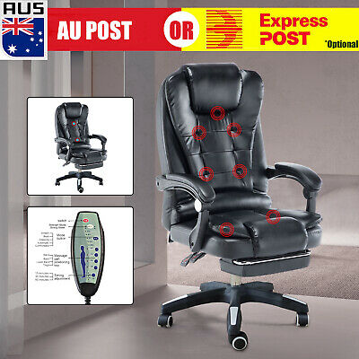 AU179.99 • Buy Points Massage Office Chair PU Leather Computer Gaming Chairs W/ Footrest D