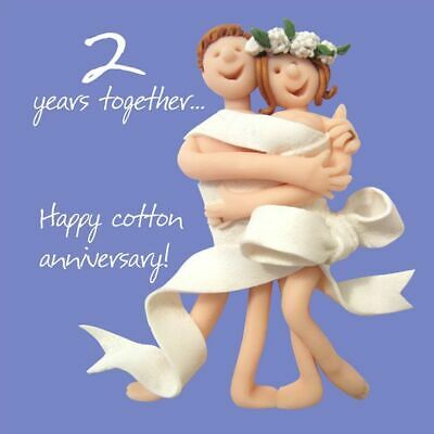 Wedding Anniversary Card - 2nd Second 2 Years Cotton One Lump Or Two Quality NEW • 3.19£