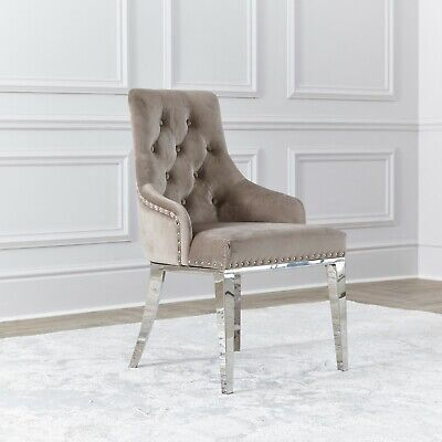 £165 • Buy NICHES Velvet Ring Knocker Back Dining Chairs Cream Oyster Chrome Accent Chair