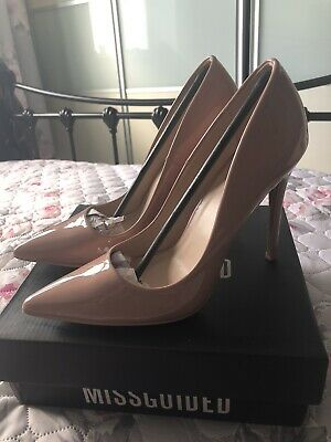 Missguided Pointed Blush Patent Court Slip On High Heel Shoes UK 7 • 10£