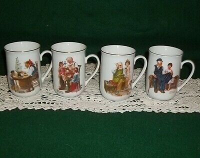 $ CDN19.09 • Buy Four 1982 Norman Rockwell Museum Porcelain Coffee Cups - Mugs W/ Gold Trim -New!