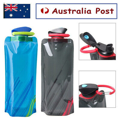 AU8.99 • Buy 700ml Reusable Foldable Collapsible Drink Water Bottle Outdoor Camp Hiking