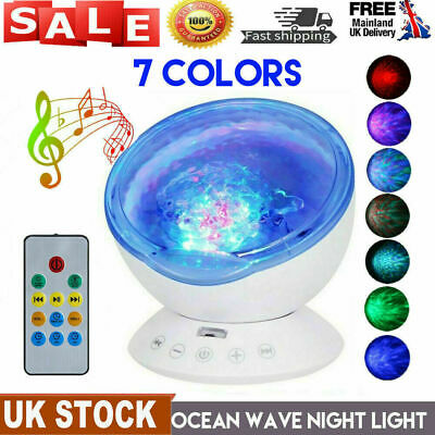 Ocean Wave LED Night Light Ceiling Projector Lamp With Music Speaker Kid Bedroom • 14.98£