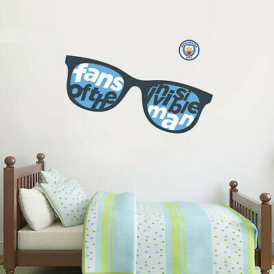 Official Manchester City Wall Sticker Invisible Man Glasses & Wall Sticker Set • 19.99£