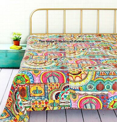 Indian Kantha Patchwork King Size Quilt Throw Multil Bedspread Blanket Decor • 52.99£