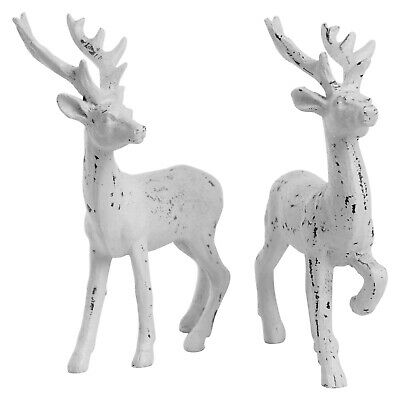 £12.99 • Buy 2 Stag Christmas Ornaments Free-standing 14cm White  Reindeer Decoration