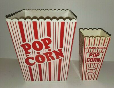 Retro Style Party Size Plastic Reusable Popcorn Containers Set/2 Large & Small • 11.79£
