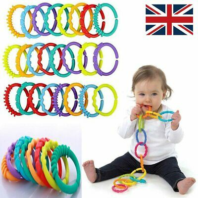£9.95 • Buy Plastic Baby Kids Infant Stroller Gym Play Mat Toys Rainbow Teether Ring Links