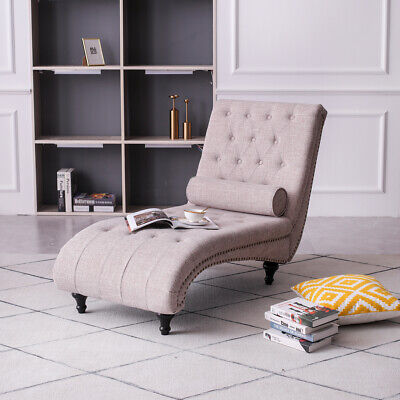 £189.90 • Buy Chaise Lounge Longue Sofa Bed Chair With Pillow Living Room Linen Fabric Beige
