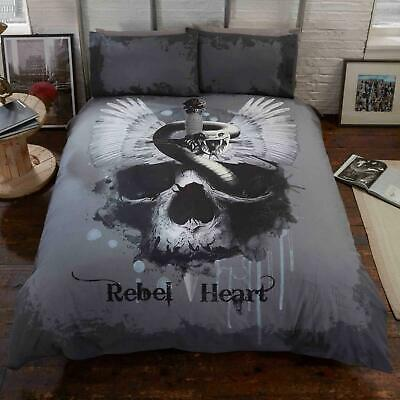 Grey Duvet Covers Gothic Skull Rebel Heart Snake Quilt Cover Bedding Sets • 16.95£