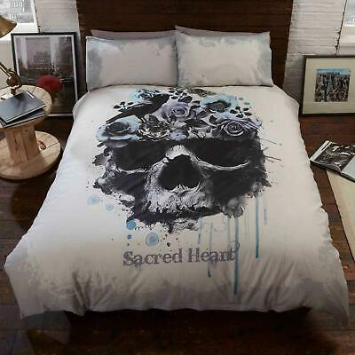 Cream Duvet Covers Gothic Skull Sacred Heart Floral Grey Quilt Cover Bedding Set • 14.95£