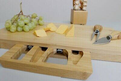 £14.99 • Buy Bamboo Cheese Board & Knife Set Wooden Serving Platter Drawer Display Gift Tray