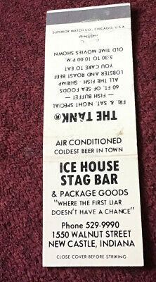 £1.76 • Buy Matchbook Cover Ice House Stag Bar New Castle Indiana