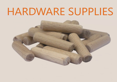 8mm X 40mm Hardwood Wooden Dowels Chamfered Fluted Pin Wood Dowels Birch Ikea • 0.99£