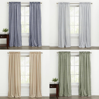 $15.99 • Buy Country Farmhouse Basic Plaid Checkered Window Curtains - Assorted Sizes