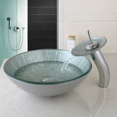 £79.19 • Buy UK Bathroom Round Vessel Sink Tempered Glass Bowl Waterfall Faucet Mixer Tap