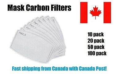 $ CDN10.99 • Buy Replaceable Face Mask Filter PM2.5 Insert Activated Carbon 5 Layer Replacement