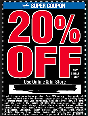 $2.28 • Buy Harbor Freight 20% Off Super Coupon Home Depot Lowe's Exp 8/16/20 Electronic
