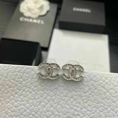 AU122.50 • Buy CHANEL  CC  Stud Earrings - Silver - Unwanted Gift