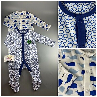 2 Pack MOTHERCARE Baby Boy Blue Whale Sea Sleepsuits Babygrows Rompers 0 - 36m • 8.99£