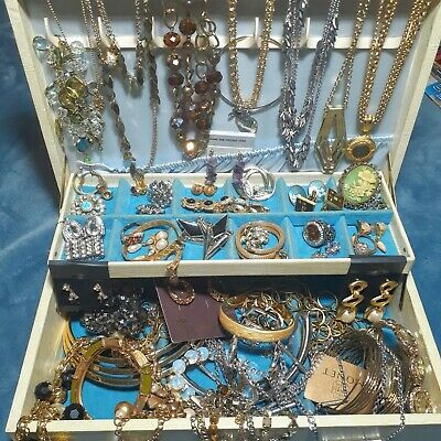 $ CDN10.67 • Buy Huge Vintage To Now All Wearable Jewelry Lot Estate Wear Resell 3lb. + All Good