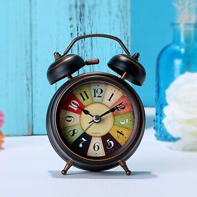 AU18.49 • Buy Battery Operated Vintage Twin Bell Quartz Analog Wake Up Alarm Clock Non Ticking