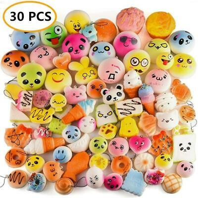 AU50 • Buy 30PCS Random Kawaii Squishies Bun Toast Donut Soft Bread Squishy Charm AU
