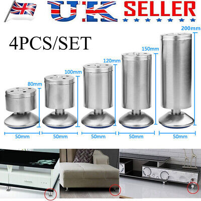 4 X Stainless Steel Feet Plinth Legs Sofa Beds Cupboard Cabinets Furniture Stand • 9.89£