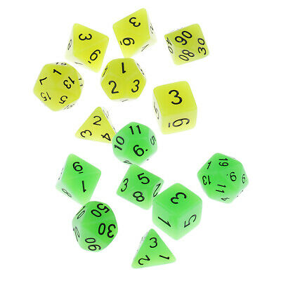 AU7.64 • Buy Pack Of 7 Noctilucence Dice Set D4 D6 D8 D10 D20 Table Game Props DIY