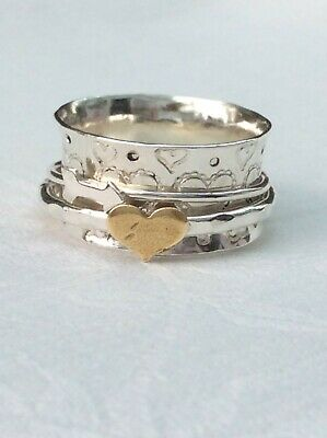 £29.50 • Buy Ring Silver  Heart & Arrow Spinning Ring Size M (1386J)