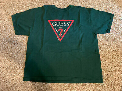 $ CDN33.36 • Buy Vintage Guess Jeans 01350 Spell Out Logo Shirt Size Medium 90s