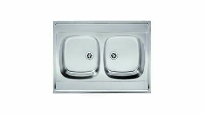 Franke Kitchen Sink Double Bowl Sit On Stainless Steel 800 X 600 Mm 80 X 60 Cm • 60£