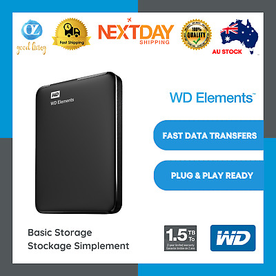 AU199 • Buy WD Elements 1.5TB 4TB External Hard Drive Portable USB 3.0 HDD Expansion Black