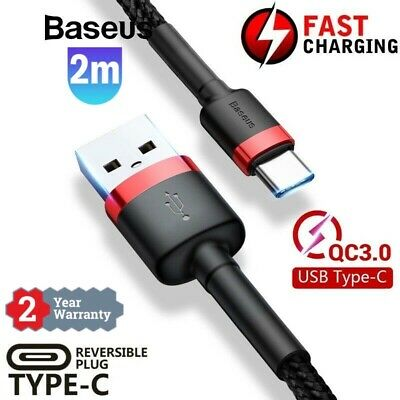 AU9.99 • Buy 2M Baseus USB Type-C Fast Charge Charging Cable Data Sync Cord Cord 2 Meter