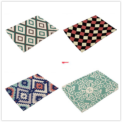 AU4.84 • Buy Washable Table Place Printing Mats Placemats Dining Baby For Kitchen Fabric JA