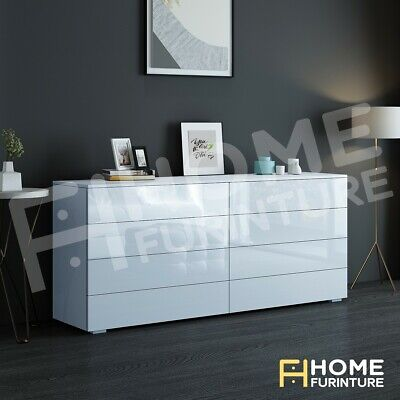 AU259.50 • Buy Dresser 8 Chest Of Drawers Table Cabinet Bedroom Storage High Gloss Wood White