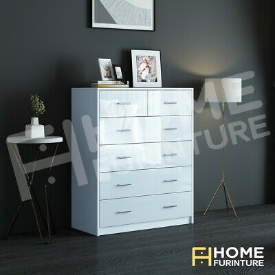 AU209.50 • Buy High Gloss Tallboy Dresser 6 Chest Of Drawers Storage Bedroom Table Cabinet Whte