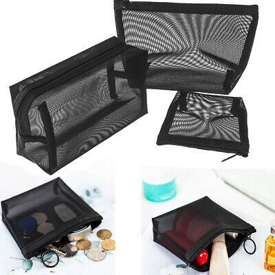 Zipper Storage Mesh Package Cosmetic Pouch Travel Organizer Makeup Bag • 3.79£