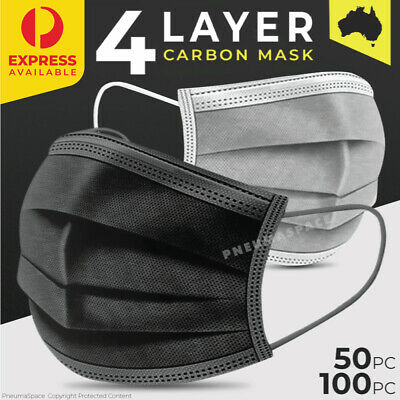 AU24.21 • Buy 4-Layer Disposable Face Mask Black - Protective Mouth Filter Cover - 50/100pcs